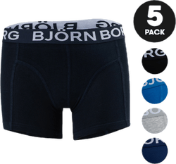 Solid Sammy Shorts 5-Pack Jr Blue/Black/Grey