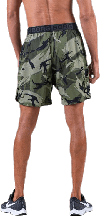 """Attis Woven Shorts 7"""" Patterned/Green"""