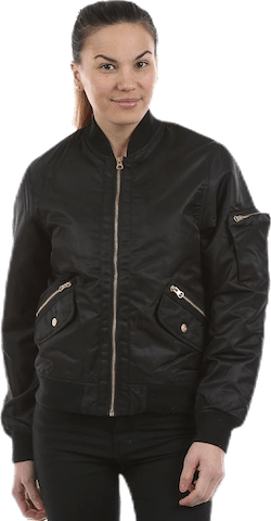 Golden Zipper Bomber Jacket Black