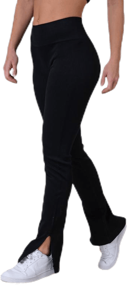 Seamless Rib Slit Pants Black