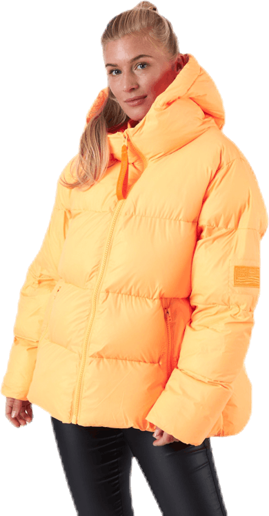 Short Padded Hood Jacket Orange