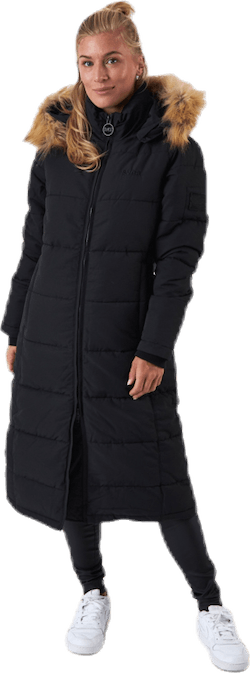 Long Slim Padded Parka Black