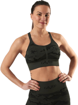 Seamless Camo Sports Bra Patterned/Black