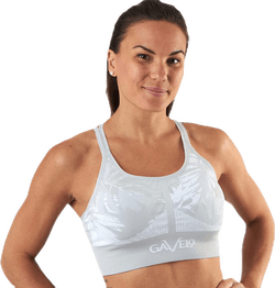 Seamless Floral Sports Bra Grey