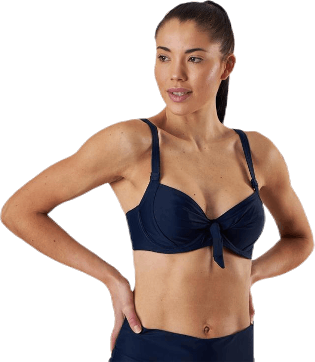 Twisted Solid Unique Wire Bra Blue