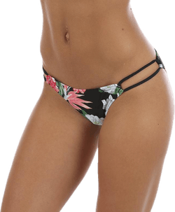 Tropical Double Strap String Bikini Bottom Black