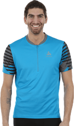 Morzine Stand-up Collar SS 1/2 Zip Blue/Grey