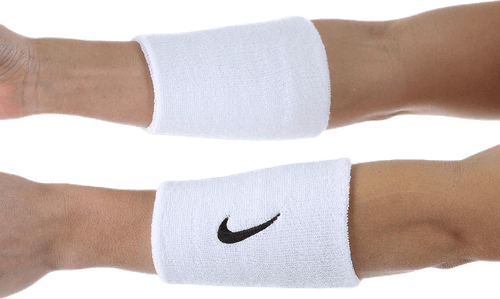 Swoosh Doublewide Wristbands White/Black