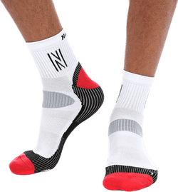 Abrahams Mid-cutt Running Sock White/Black