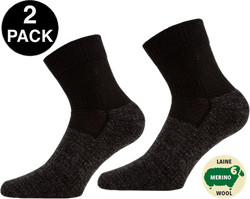 Leonardo Qtr - 2-pack Merino Wool Quarter Length Walking Socks Black