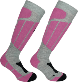 Aspen - Ski and Snowboarding Socks w Merino Wool and CLIMAYARN Pink