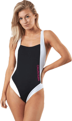 Ck Blocking Plunge Back Swimsuit Black