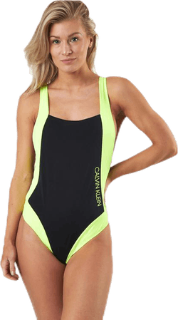 Ck Blocking Plunge Back Swimsuit Black/Yellow