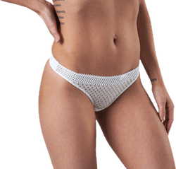 Pique Lace Thong White