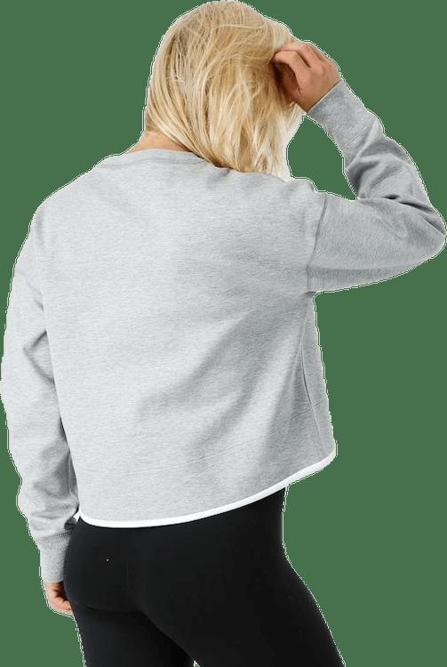 Women Tech Fleece Crew Dk Grey Heather/White