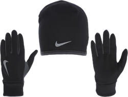 Run Thermal Hat and Glove Set Black/Grey