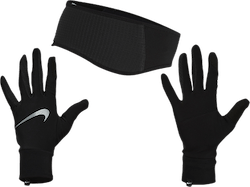 Essential Running Headband And Glove Set Black