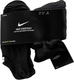 6-pack Everyday Lightweight No-Show White/Black