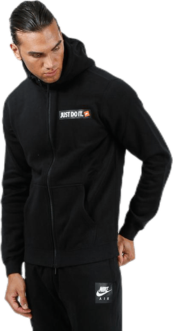 Hybrid Full Zip Fleece Hoodie Black