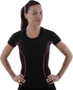 A200 Womens Top Short Sleeve Pink/Black