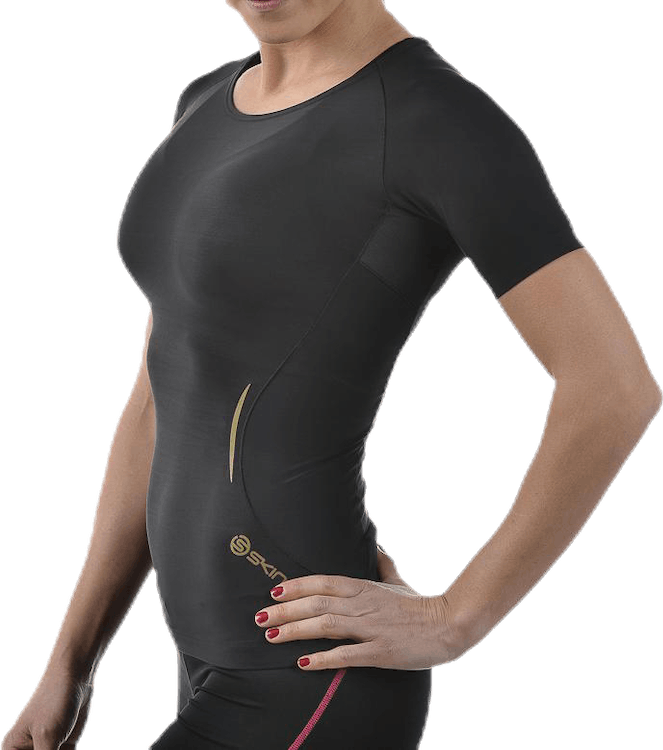 A400 Womens Top Short Sleeve Black/Gold
