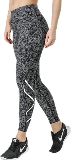 Mid-Rise Compression Print Tights W White/Black