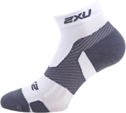 Vectr LightCush 1/4 Crew Sock White/Grey