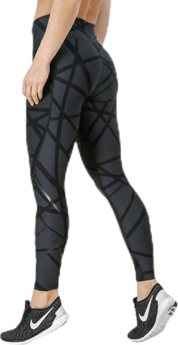 Print Mid-Rise Compression Tights W Black/Grey