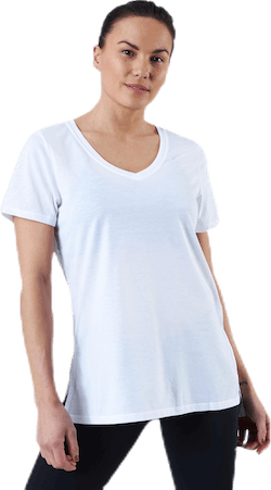 URBAN V Neck Hi Low Tee White