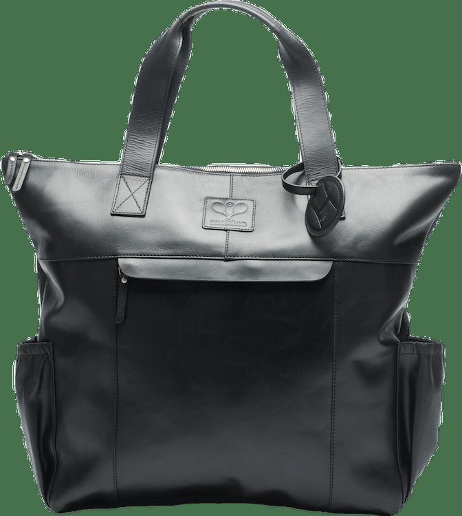 Leather Tennis Tote Bag Black