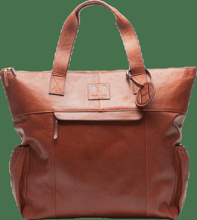 Leather Tennis Tote Bag Brown