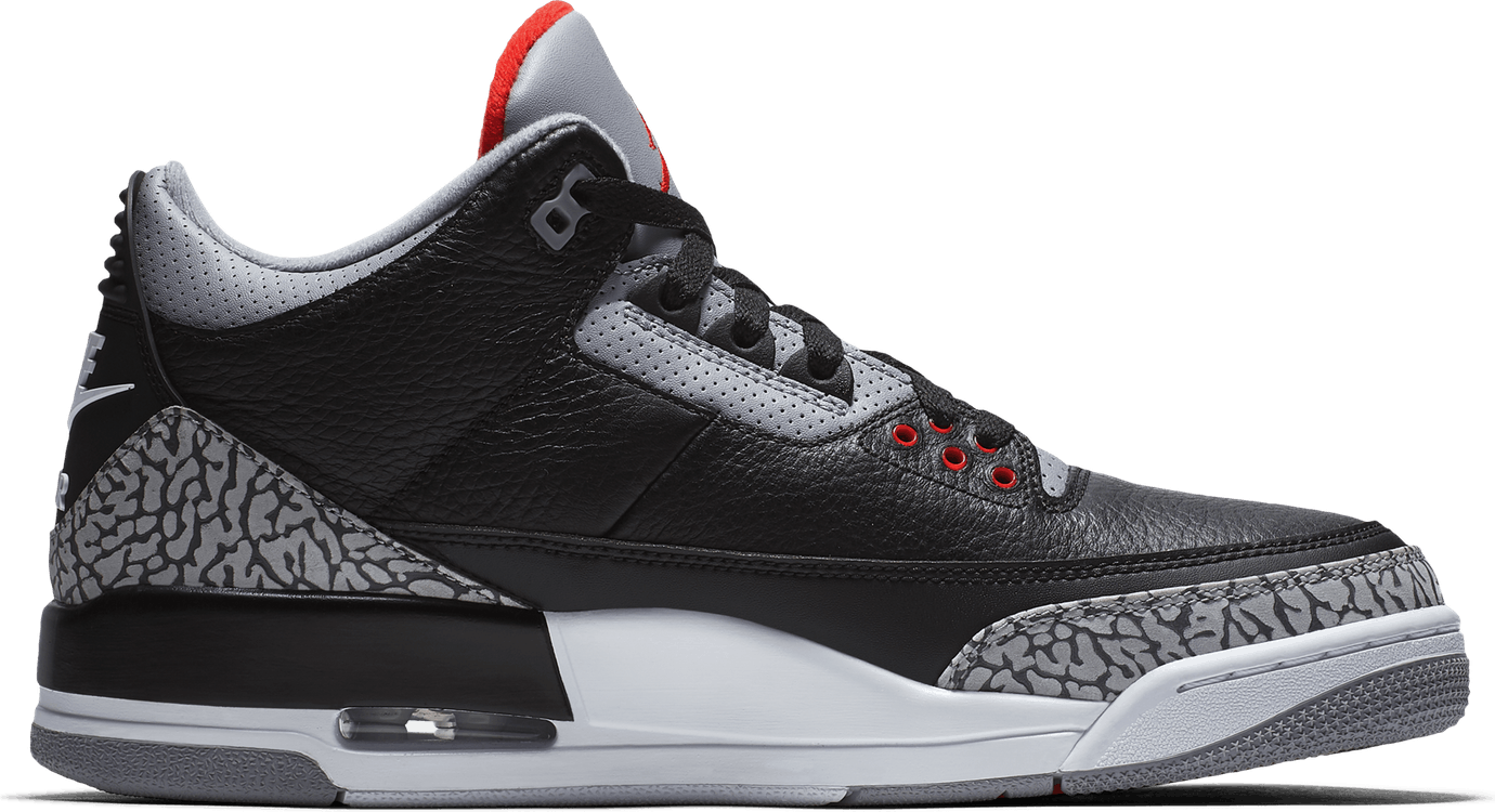 Jordan III Retro Black Cement Black/Fire Red-Cement Grey-White