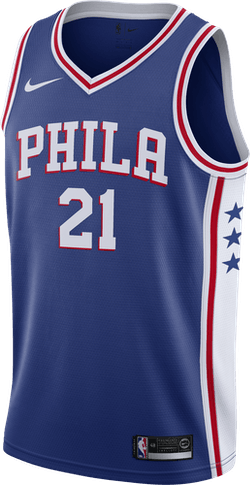 Sixers Swgmn Jsy Road Embiid Rush Blue/White/University Red