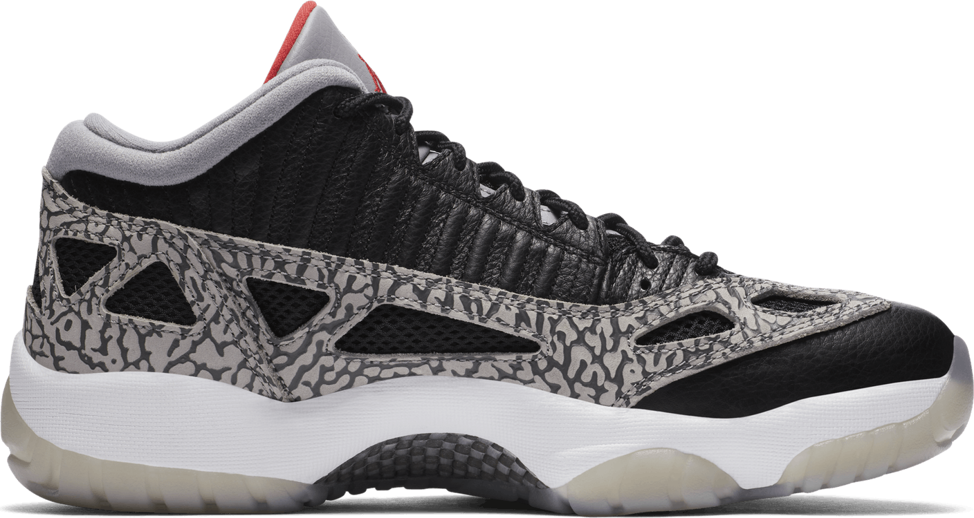 Air Jordan Xi Retro Low I.E. - Black Cement Black/Fire Red-Cement Grey-White